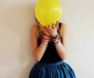 girl, balloon, and yellow image