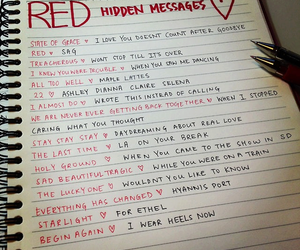 red, Taylor Swift, and hidden messages image