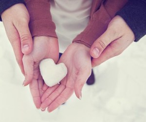 couple, heart, and snow image