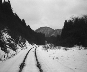 snow, black and white, and nature image
