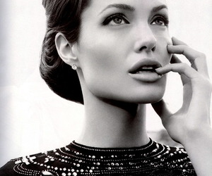 Angelina Jolie, black and white, and woman image