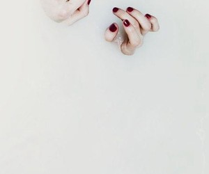 hands, red nails, and milkbath image