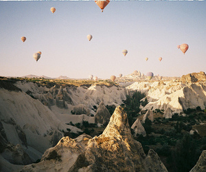 film, hot air balloons, and mountains image