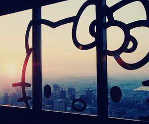 hello kitty, window, and city image