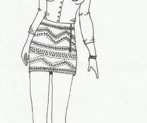 black and white, clothes, and draw image