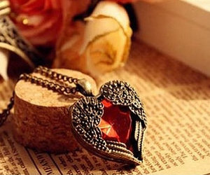 heart, necklace, and vintage image
