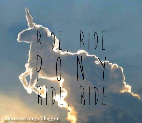 clouds, Lady gaga, and pony image