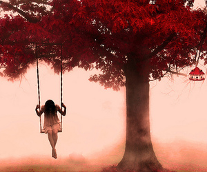 girl, tree, and alone image