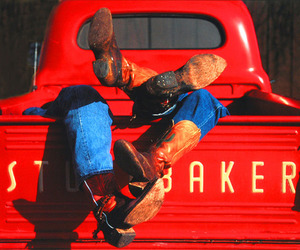 truck, cowboy boots, and red image