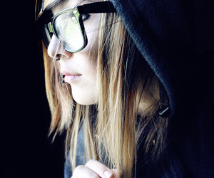 girl, glasses, and piercing image