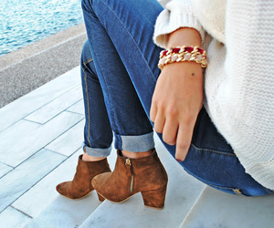 ankle boots, beige, and bracelets image