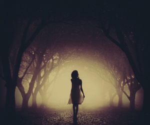 Darkness, girl, and shadow image