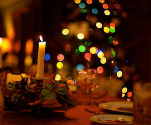 candle, christmas, and dinner image