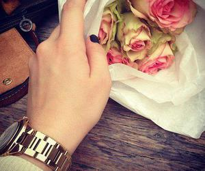 flowers, rose, and watch image