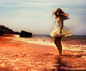 girl, beach, and water image