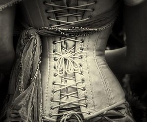 corset, black and white, and dress image