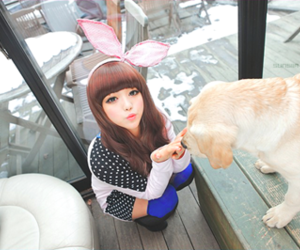 girl, korean, and dog image