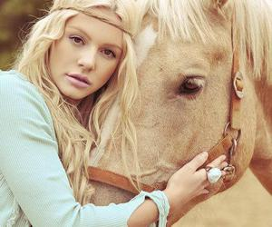 horse, girl, and blonde image