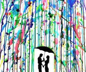 love, rain, and art image