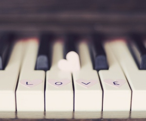 love, piano, and music image