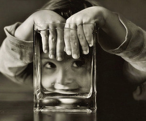 black and white, glass, and kids image
