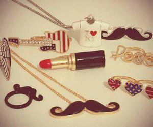 mustache, rings, and necklace image