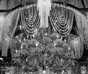 black and white, chandelier, and lights image