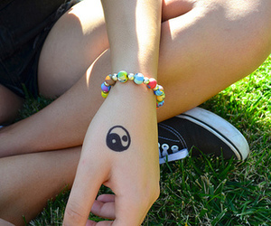 girl, tattoo, and ying yang image