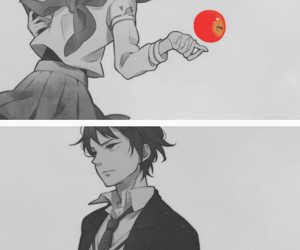 anime, apple, and red image