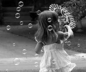 black and white, bubbles, and girl image