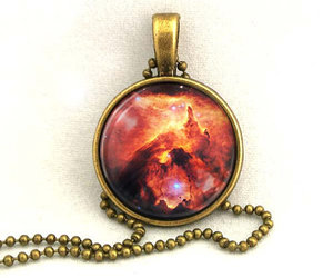 astronomy, necklace, and red image