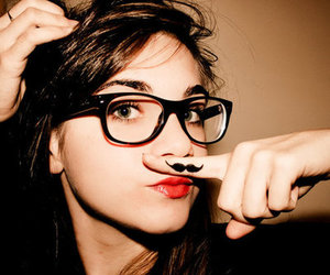 girl, glasses, and mustache image
