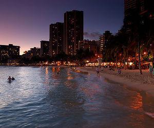 beach, city, and light image