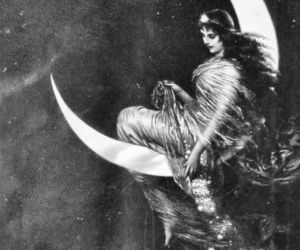 moon, art, and witch image