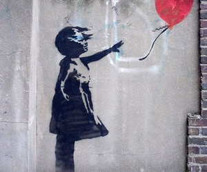 girl, bansky, and heart image
