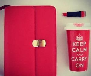 red, keep calm, and lipstick image