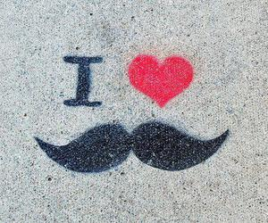 moustache, mustache, and heart image