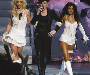 christina aguilera, madonna, and britney spears image