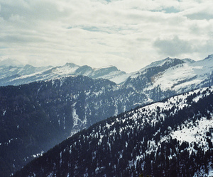 mountains, snow, and sky image