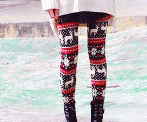 winter, leggings, and christmas image