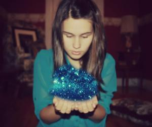 blue, galaxy, and girl image