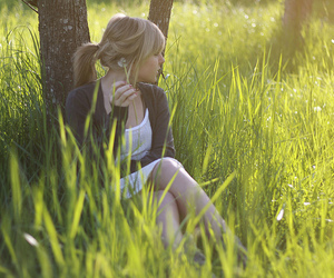 girl, grass, and green image