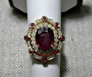 diamond, gold, and ruby ring image