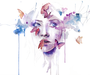 art, butterfly, and watercolor image
