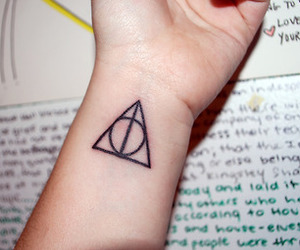 harry potter, tattoo, and deathly hallows tattoo image