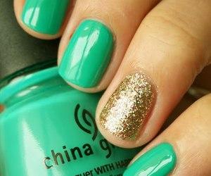 nails, green, and gold image