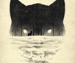 wolf, art, and night image
