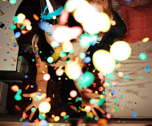 girl, party, and confetti image