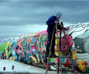 boy, graffiti, and art image