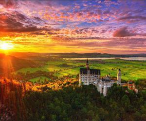 castle, sky, and sun image